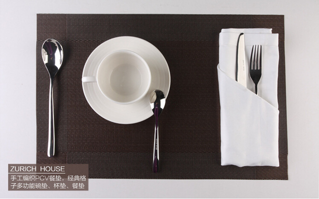 3pcs Brown Grey and Gold Placemats for Dining Table PVC