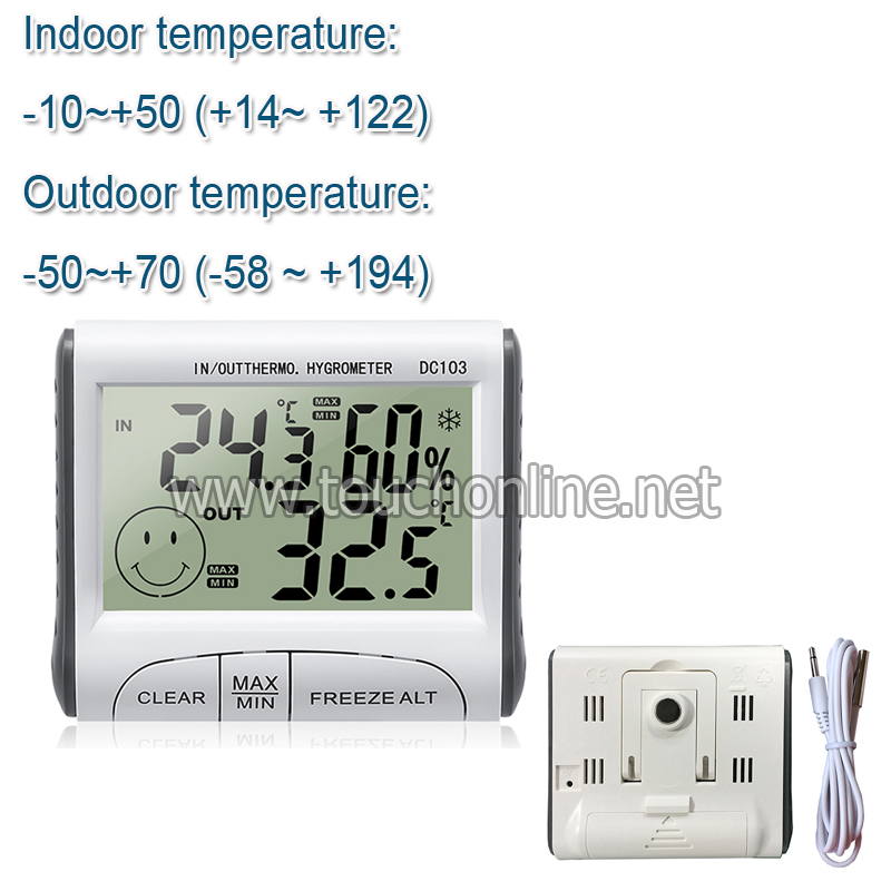 Household Indoor and Outdoor Use Temperature Humidity Meter