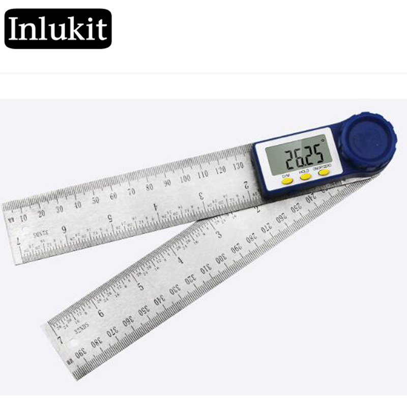 2in1 Stainless Steel Angle Finder Meter Digital Protractor Ruler
