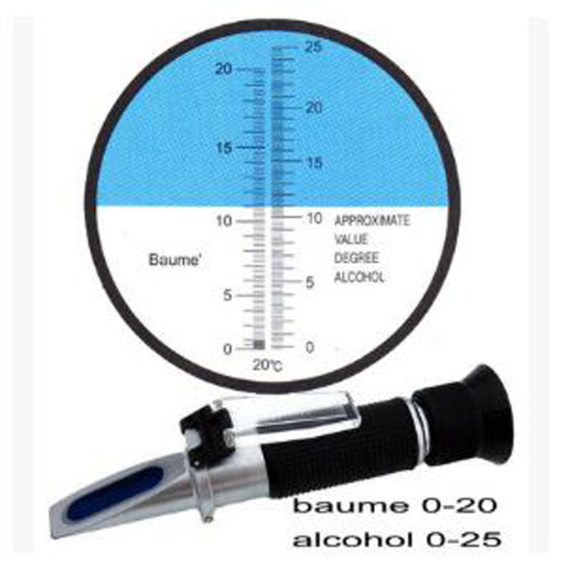 Wine Alcohol Refractometer 0-25% Test Optical Baume Meter 0-20%